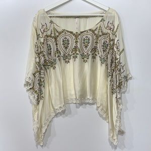 Free People Embroidered Kimono Top lace trimmed M